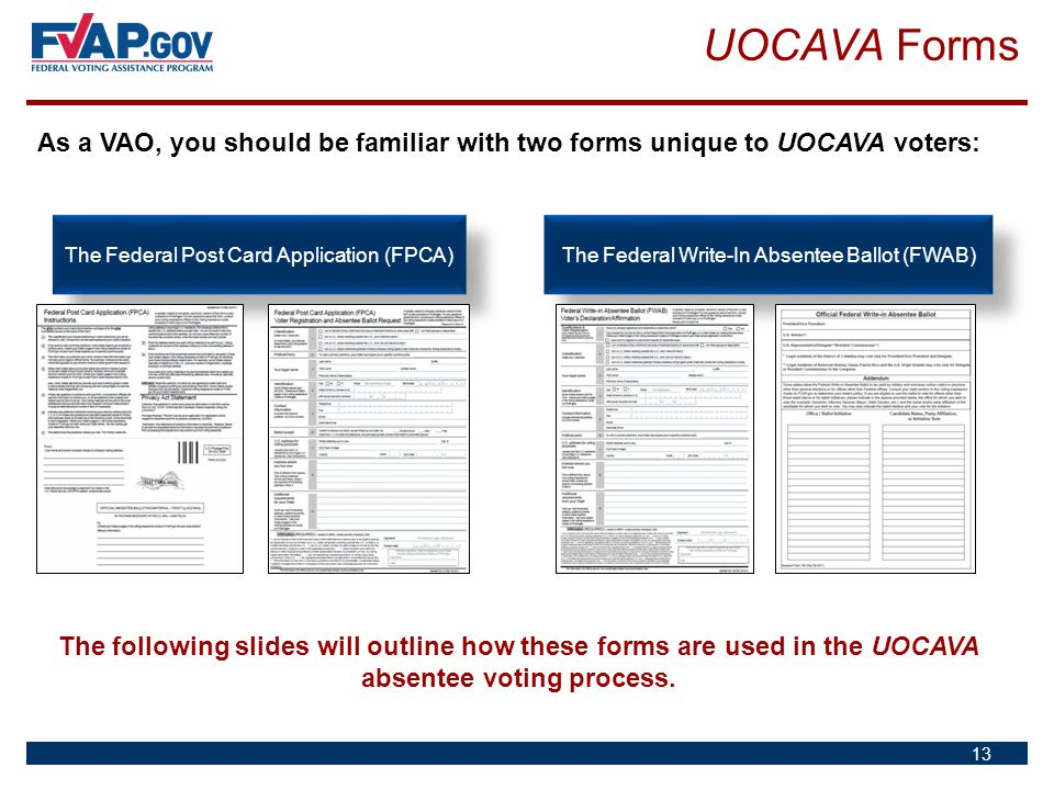 UOCAVA Forms As a VAO, you should be familiar with two forms unique to UOCAVA voters: The Federal Post Card Application (FPCA)