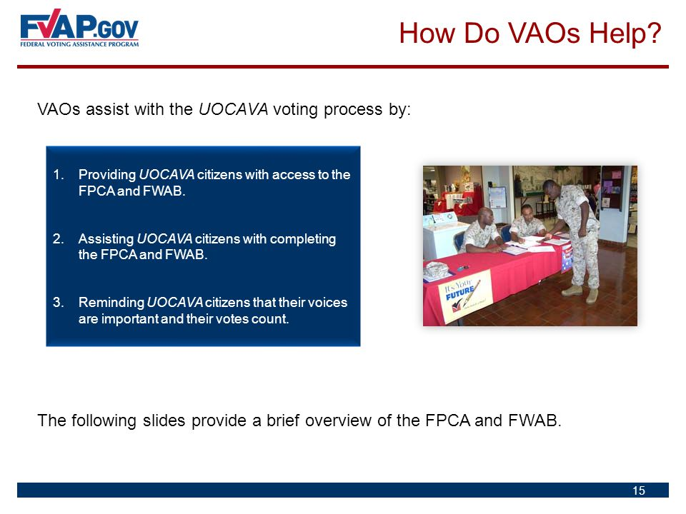 How Do VAOs Help VAOs assist with the UOCAVA voting process by: