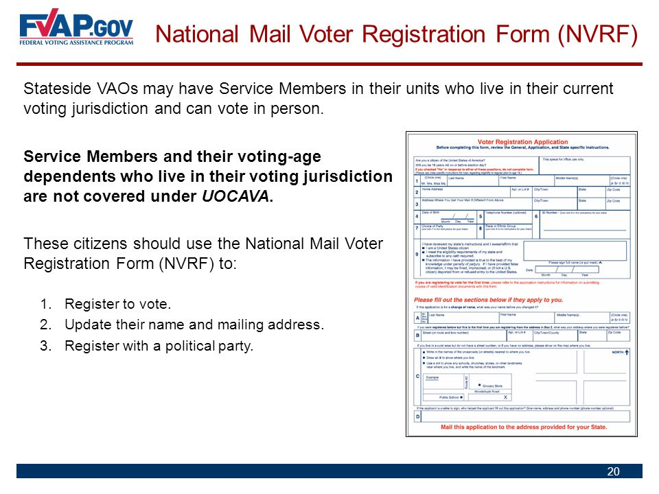 National Mail Voter Registration Form (NVRF)