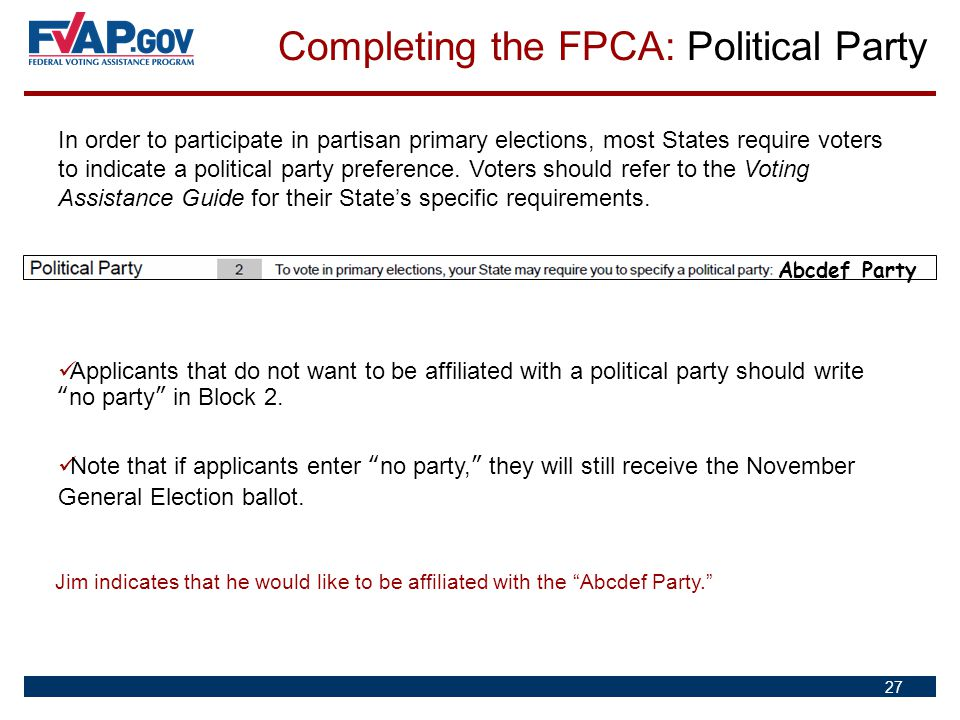 Completing the FPCA: Political Party