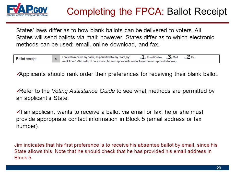 Completing the FPCA: Ballot Receipt