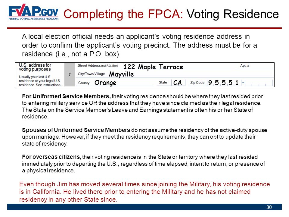 Completing the FPCA: Voting Residence