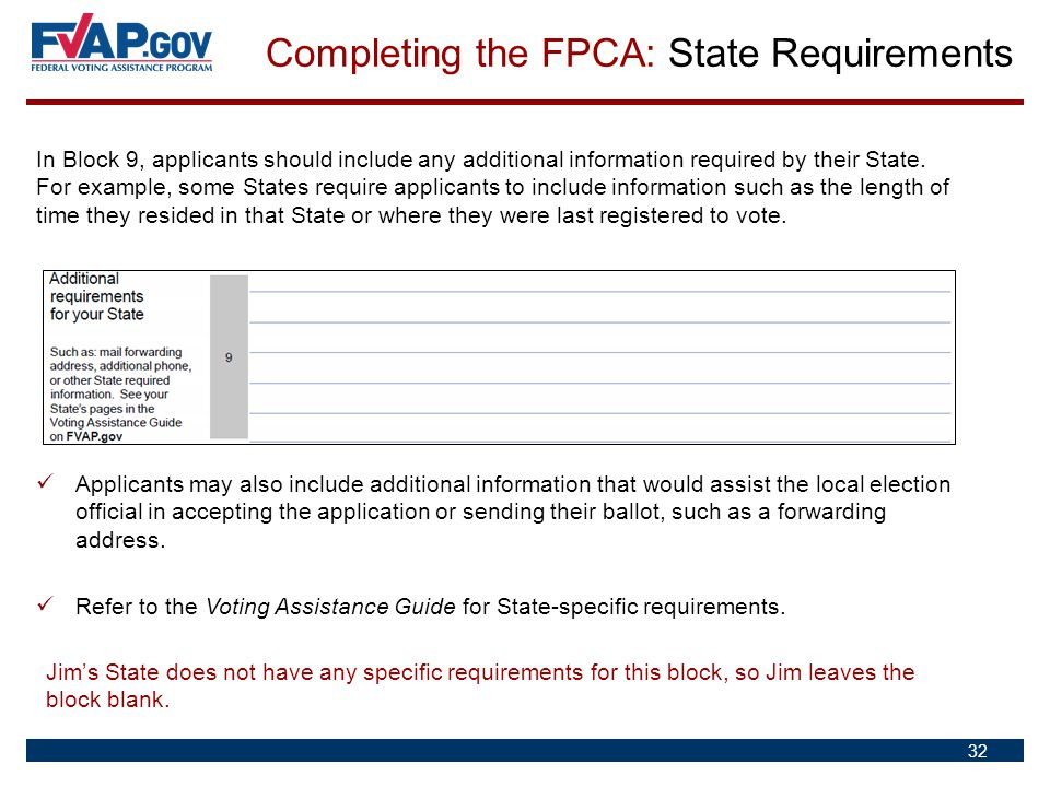 Completing the FPCA: State Requirements