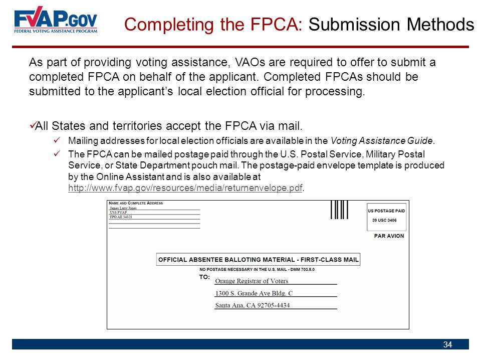 Completing the FPCA: Submission Methods