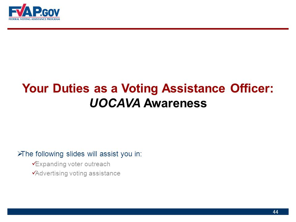 Your Duties as a Voting Assistance Officer: