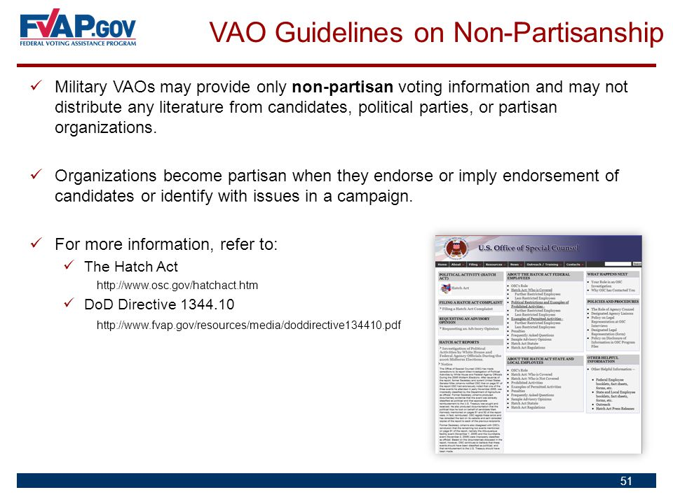 VAO Guidelines on Non-Partisanship