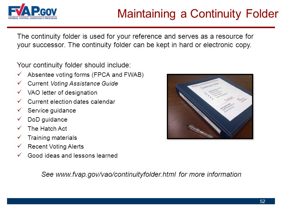 See www.fvap.gov/vao/continuityfolder.html for more information