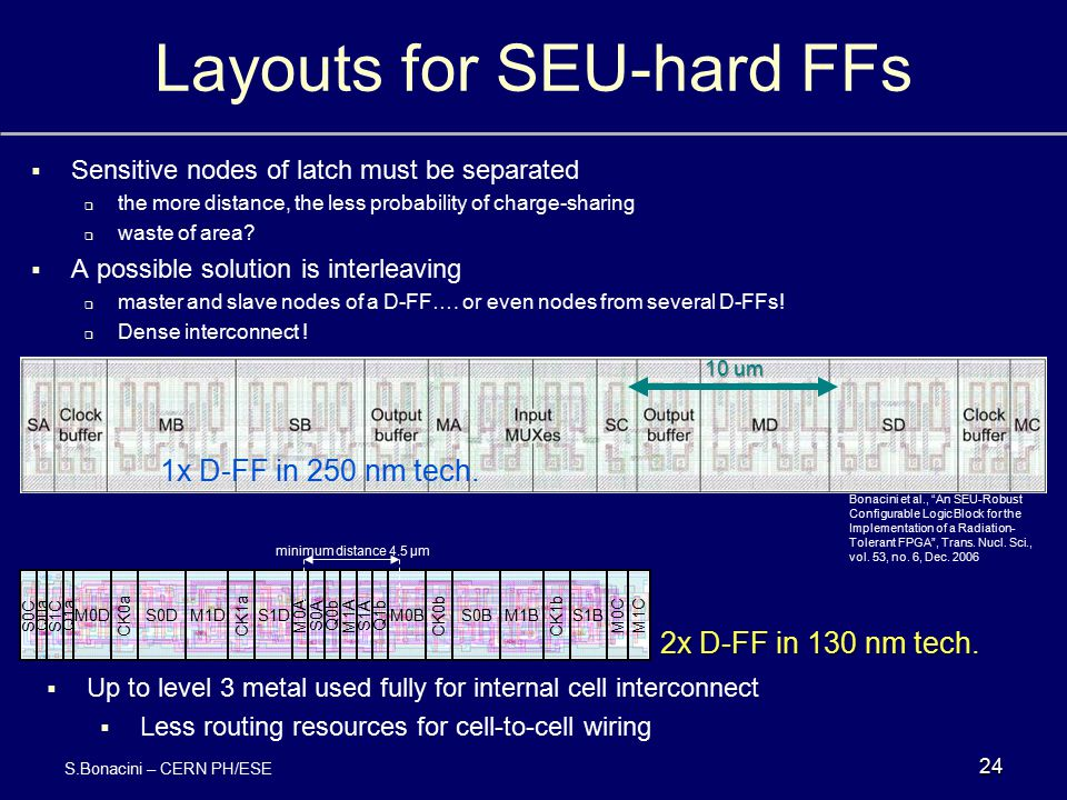 Layouts for SEU-hard FFs