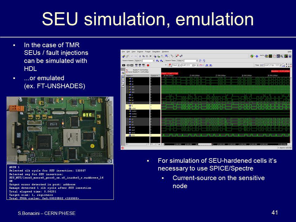 SEU simulation, emulation