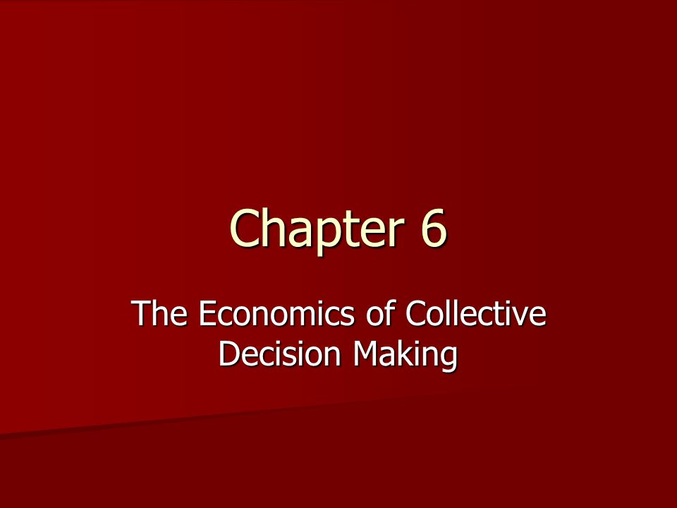 The Economics of Collective Decision Making
