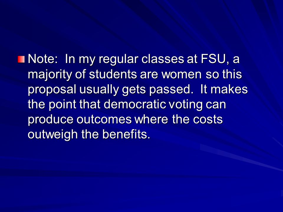 Note: In my regular classes at FSU, a majority of students are women so this proposal usually gets passed.