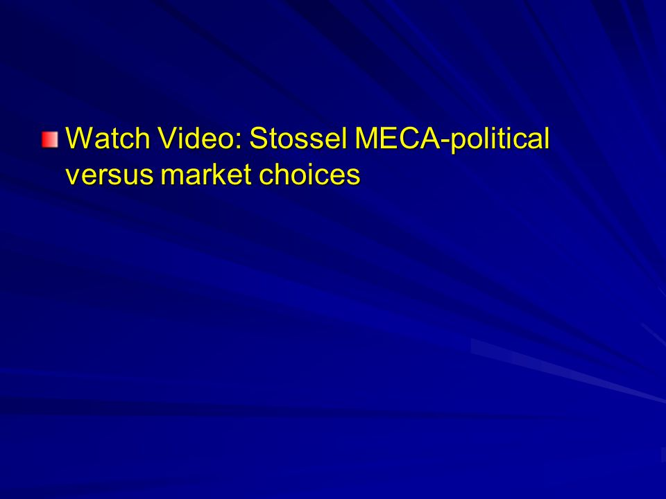 Watch Video: Stossel MECA-political versus market choices