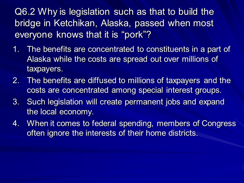 Q6.2 Why is legislation such as that to build the bridge in Ketchikan, Alaska, passed when most everyone knows that it is pork