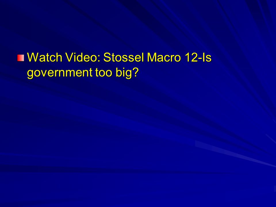 Watch Video: Stossel Macro 12-Is government too big
