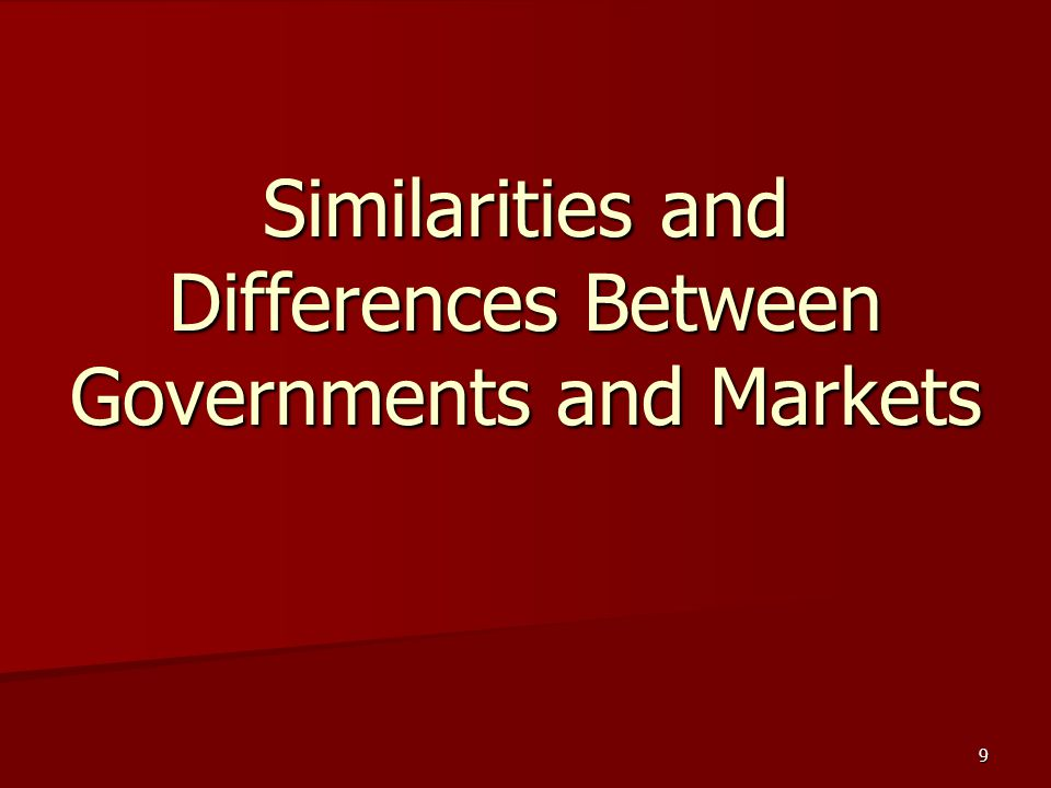 Similarities and Differences Between Governments and Markets