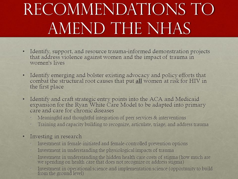 Recommendations to amend the NHAS