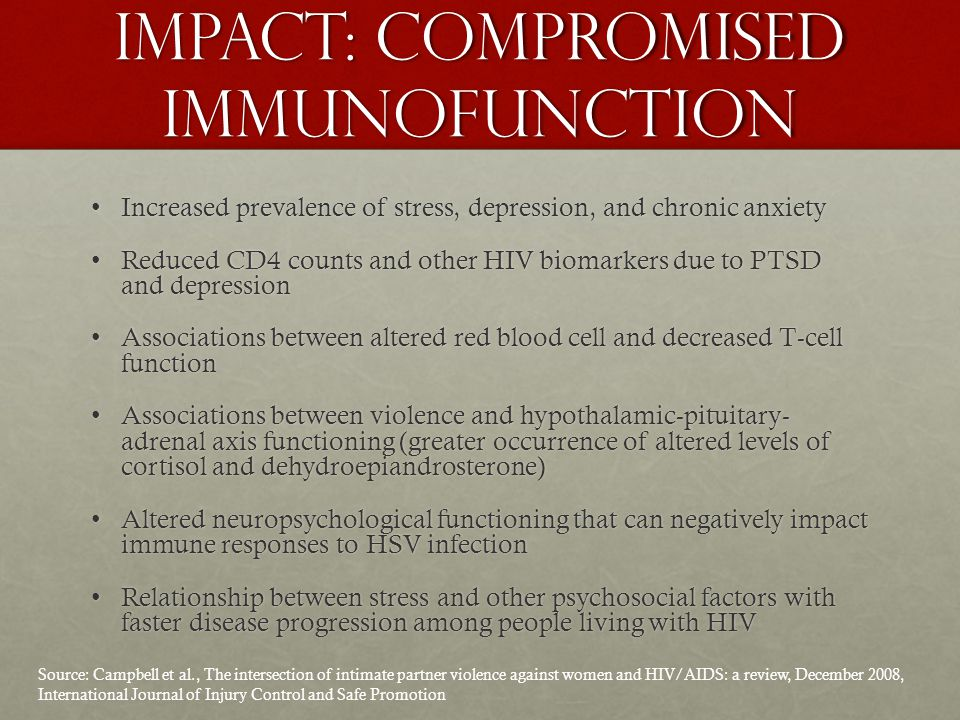 Impact: Compromised immunofunction