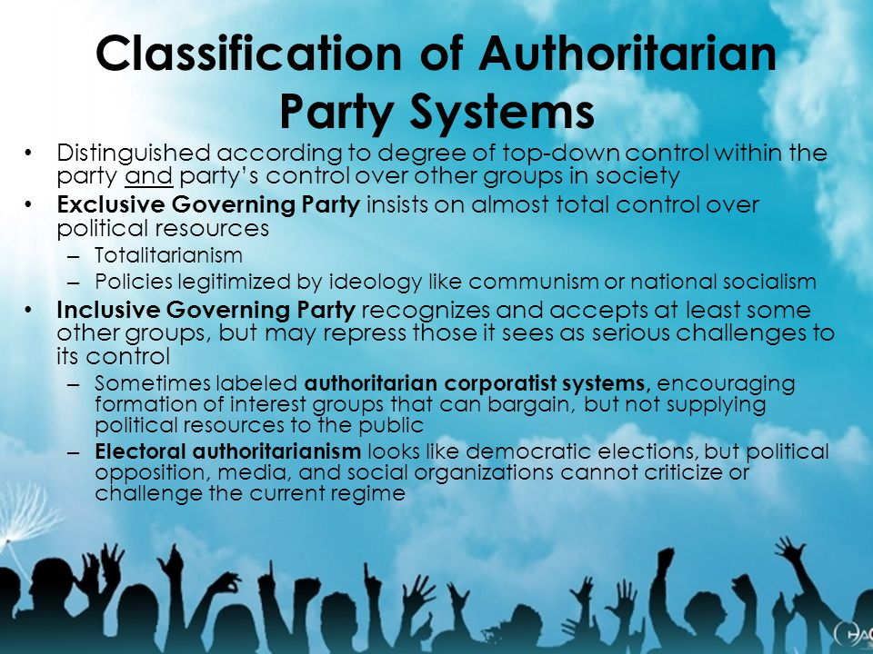Classification of Authoritarian Party Systems