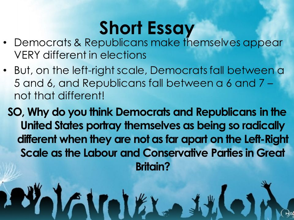 Short Essay Democrats & Republicans make themselves appear VERY different in elections.