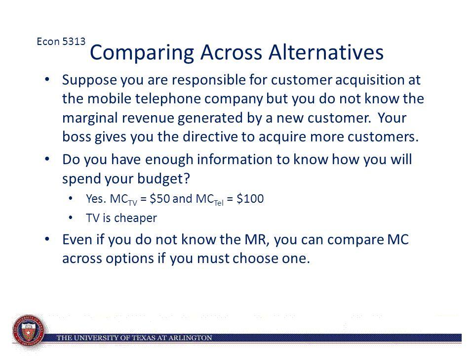 Comparing Across Alternatives