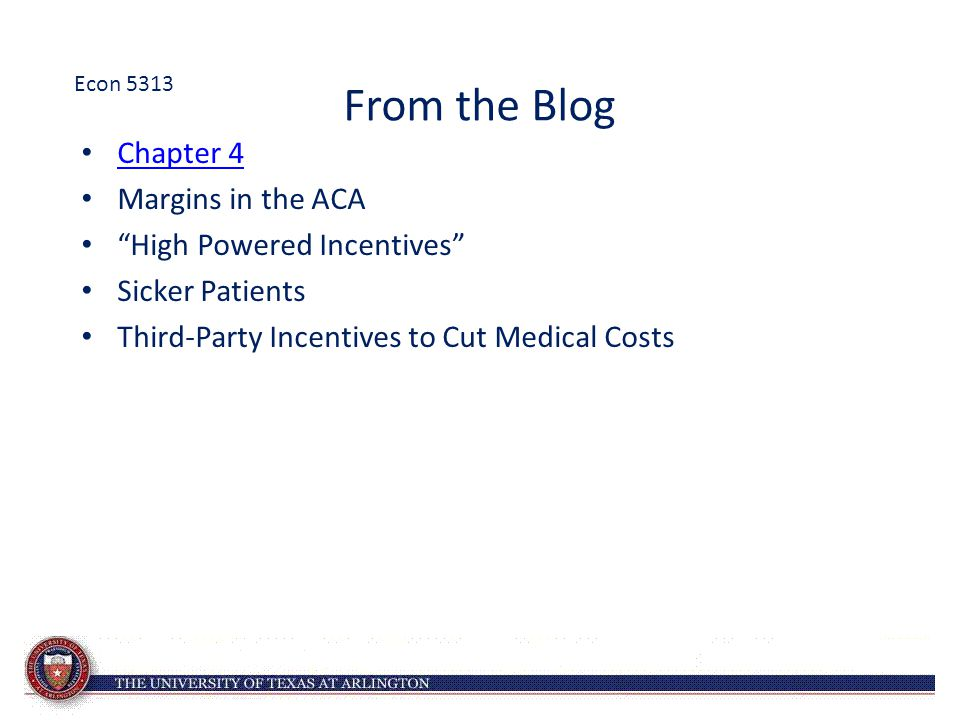 From the Blog Chapter 4 Margins in the ACA High Powered Incentives