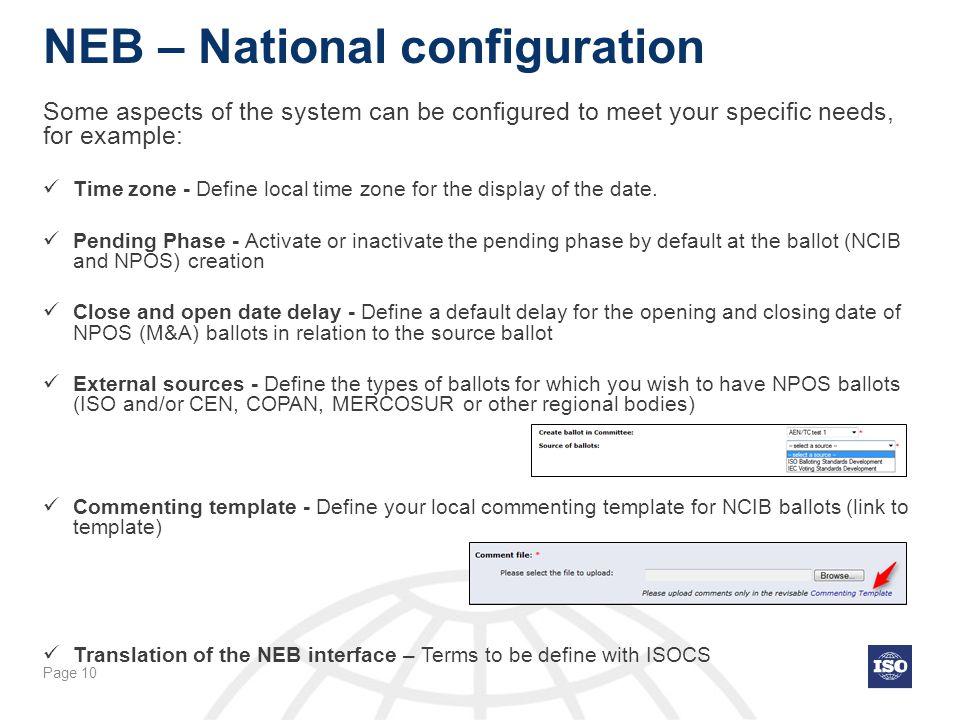 NEB – National configuration