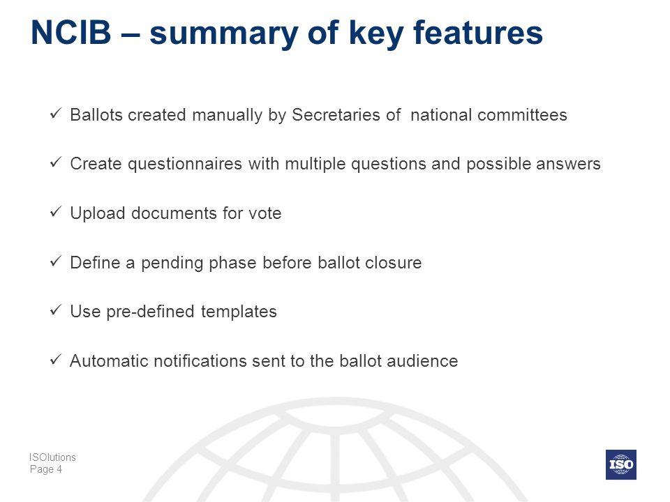 NCIB – summary of key features