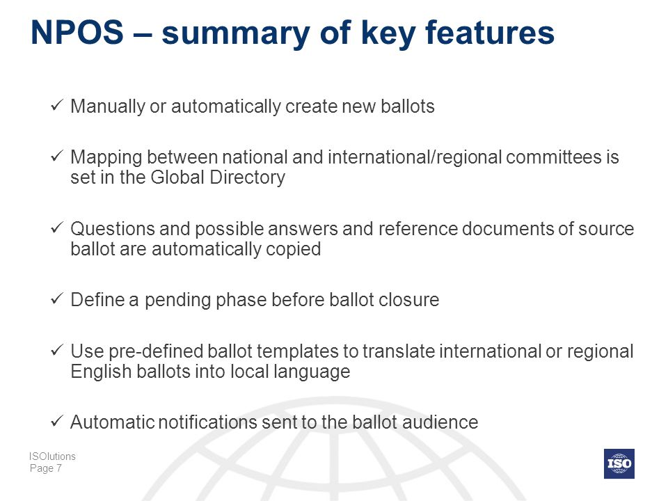 NPOS – summary of key features