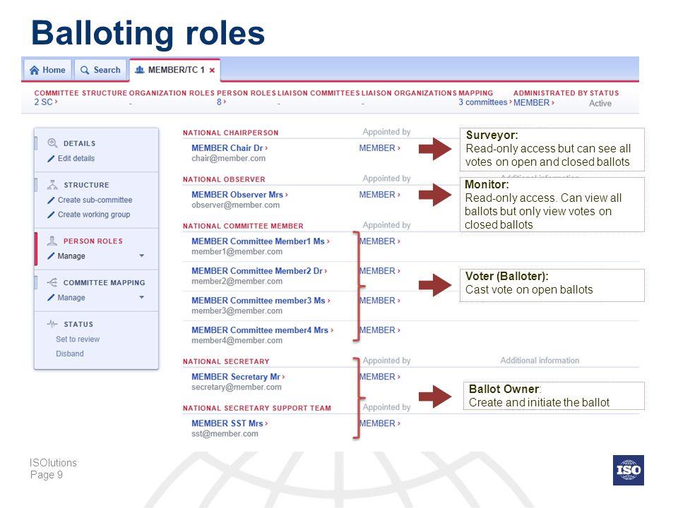 Balloting roles Surveyor:
