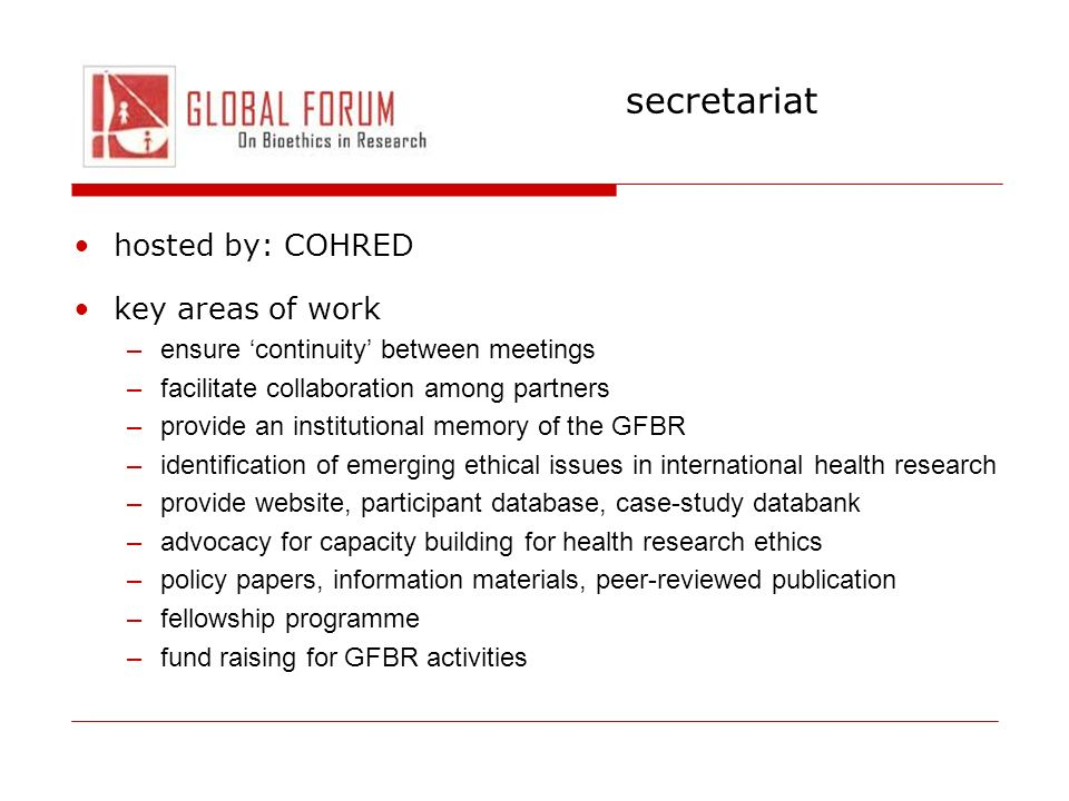 secretariat hosted by: COHRED key areas of work