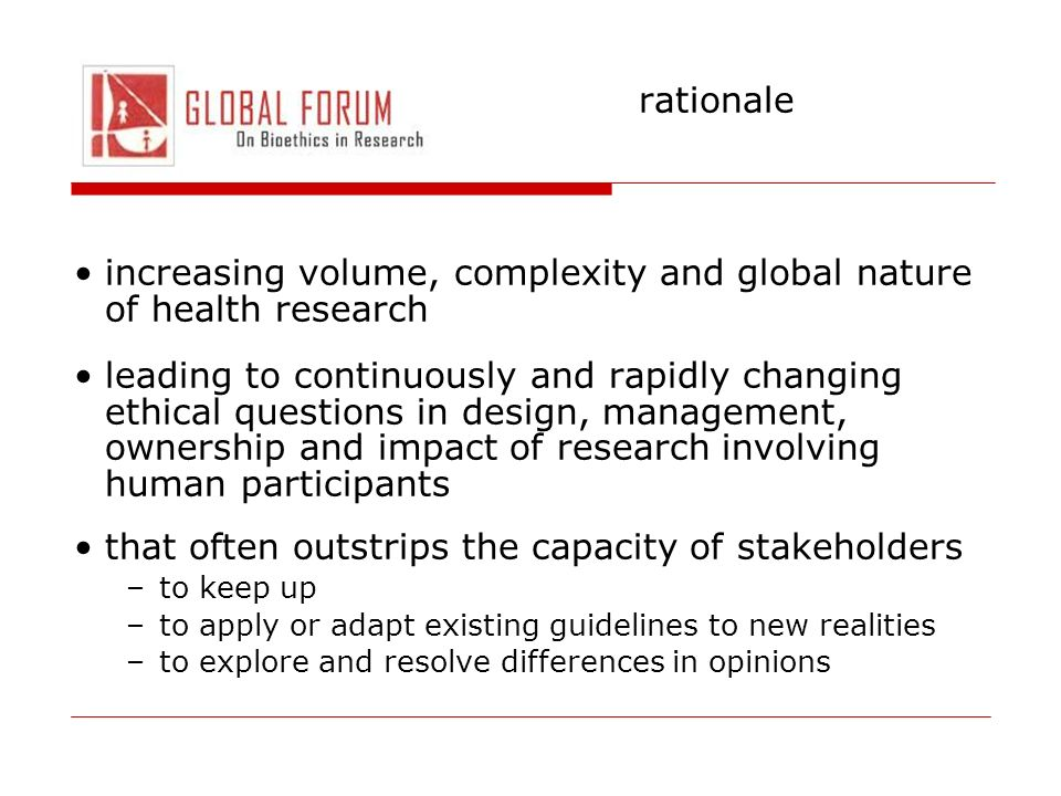 increasing volume, complexity and global nature of health research