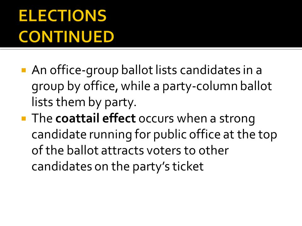 ELECTIONS CONTINUED An office-group ballot lists candidates in a group by office, while a party-column ballot lists them by party.