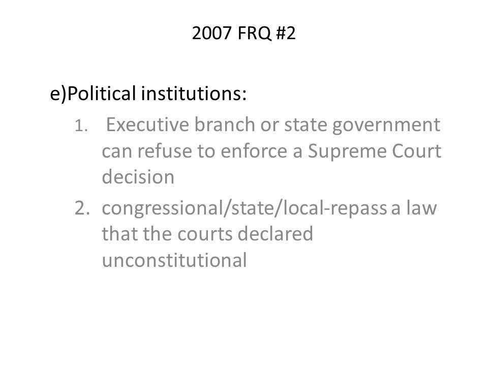 e)Political institutions: