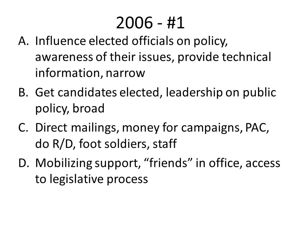 2006 - #1 Influence elected officials on policy, awareness of their issues, provide technical information, narrow.