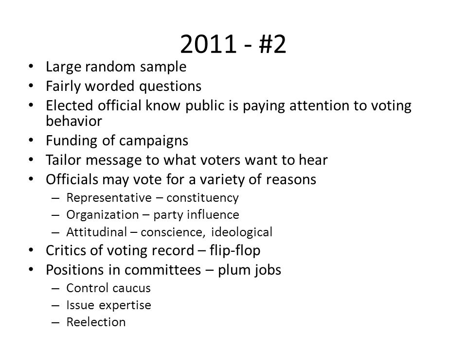 2011 - #2 Large random sample Fairly worded questions