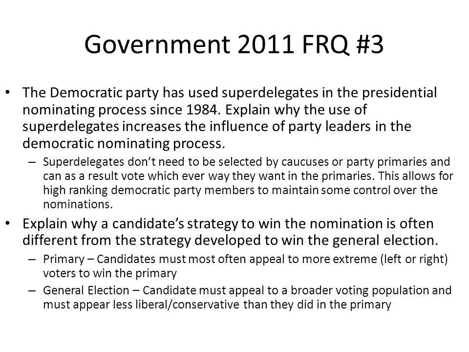 Government 2011 FRQ #3