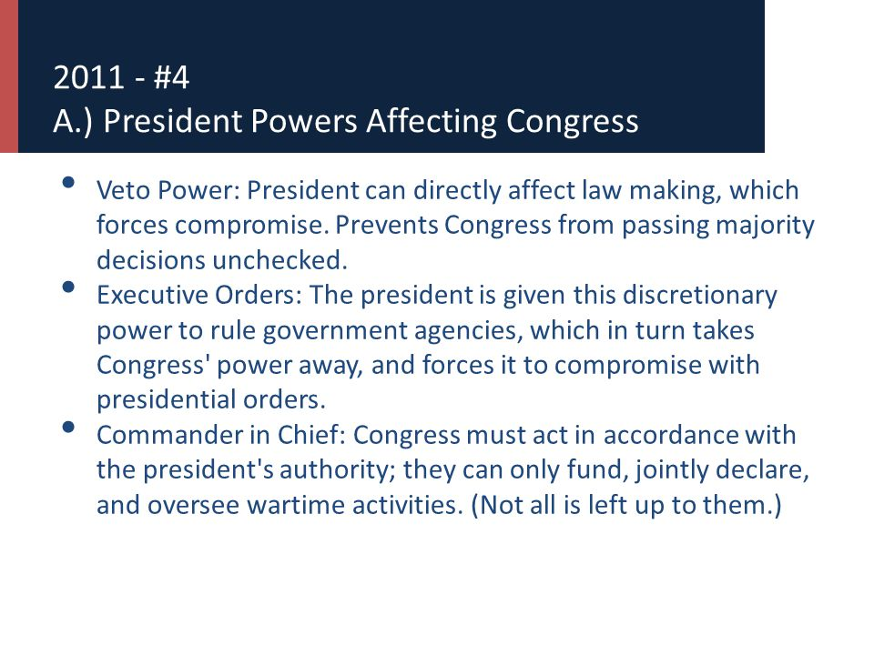 2011 - #4 A.) President Powers Affecting Congress