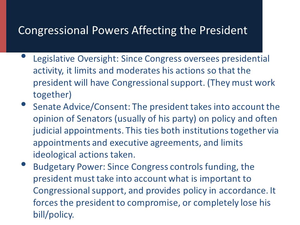 Congressional Powers Affecting the President