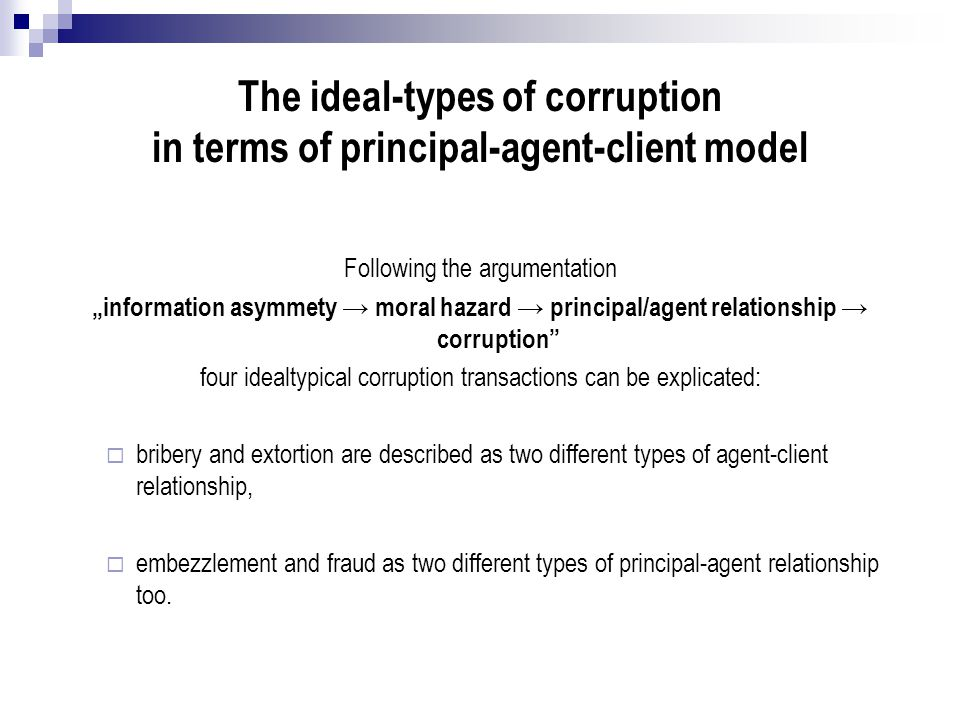 The ideal-types of corruption in terms of principal-agent-client model