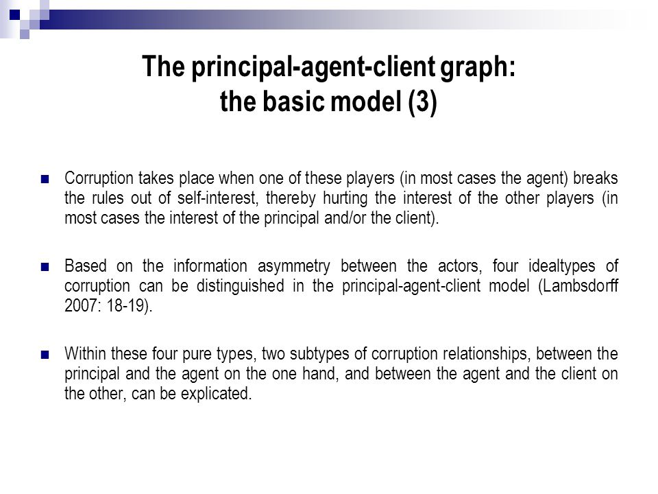 The principal-agent-client graph: the basic model (3)