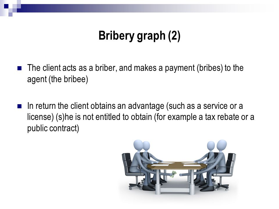 Bribery graph (2) The client acts as a briber, and makes a payment (bribes) to the agent (the bribee)