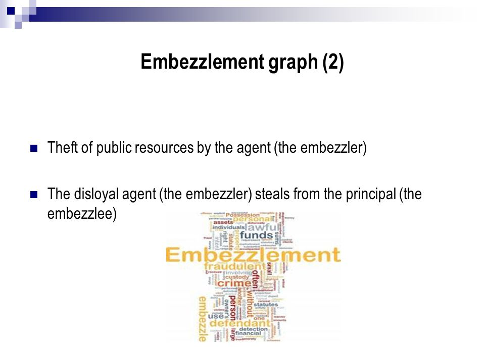 Embezzlement graph (2) Theft of public resources by the agent (the embezzler)