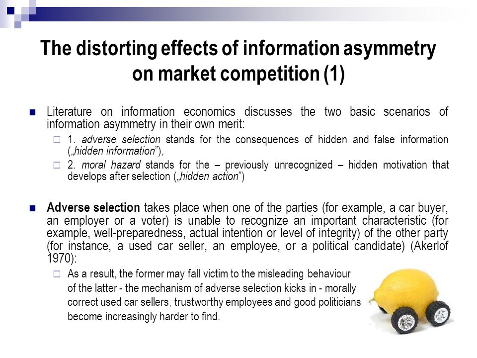 The distorting effects of information asymmetry on market competition (1)
