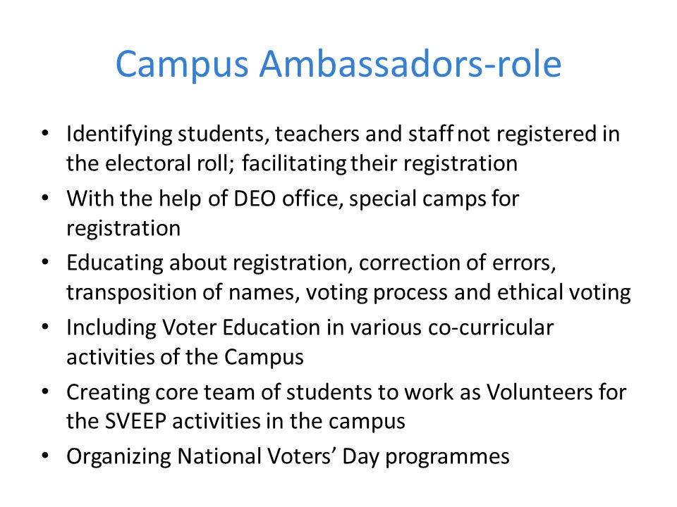 Campus Ambassadors-role
