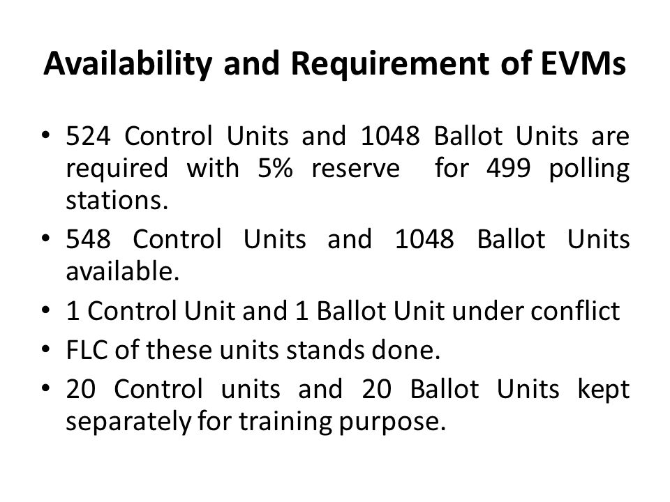 Availability and Requirement of EVMs