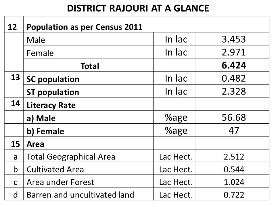 DISTRICT RAJOURI AT A GLANCE