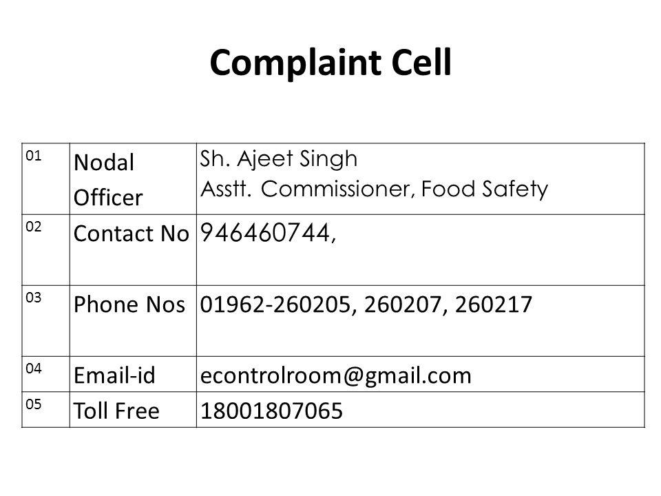 Complaint Cell Nodal Officer