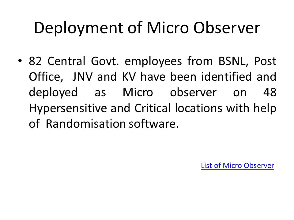 Deployment of Micro Observer