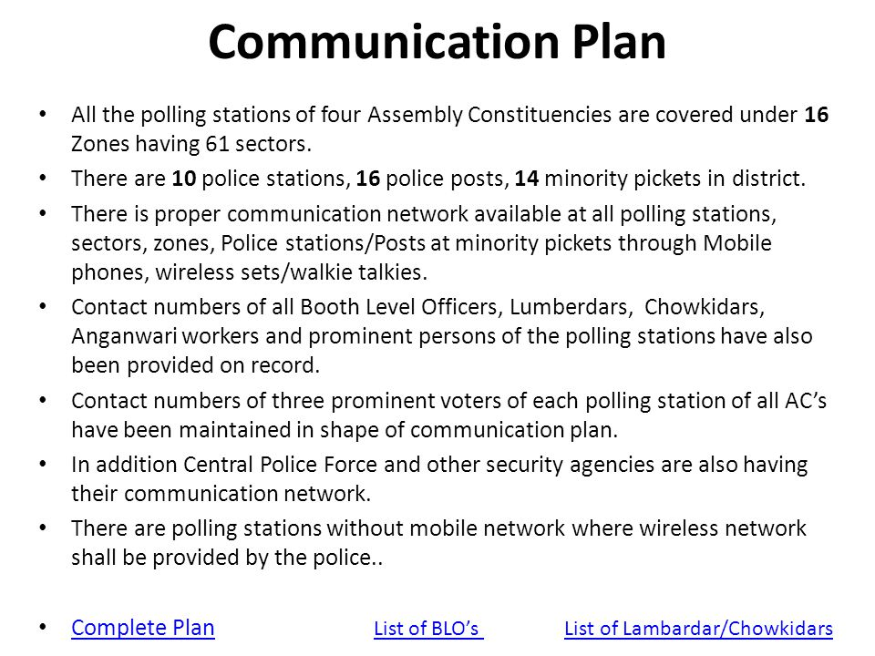 Communication Plan All the polling stations of four Assembly Constituencies are covered under 16 Zones having 61 sectors.