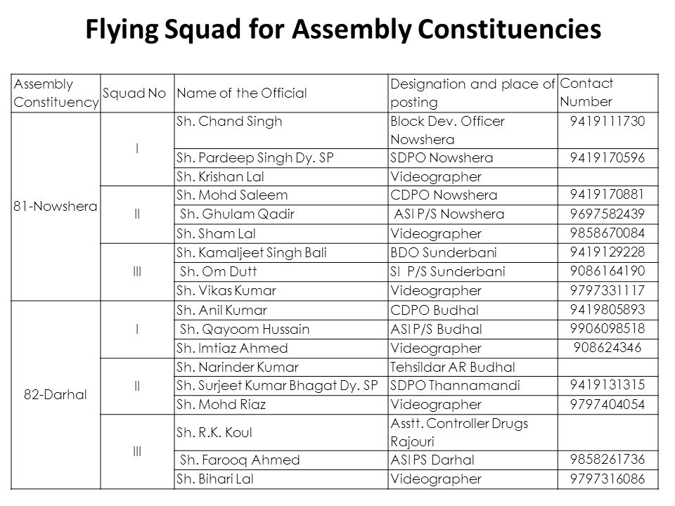 Flying Squad for Assembly Constituencies